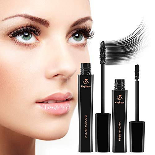 MayBeau Wimperntusche 4D Silk Fiber Mascara 2 in 1 Mascara Kit Wasserdicht...
