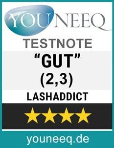 LashAddict Wimpernserum Test GUT (Note 2,3)