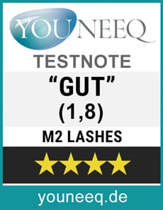 M2Lashes Wimpernserum Test Testsiegel Youneeq