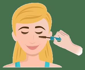 Mascara Anwendung an den Wimpern